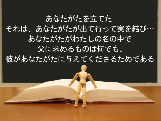 あなたがたを立てた.それは、あなたがたが出て行って実を結び…あなたがたがわたしの名の中で父に求めるものは何でも、彼があなたがたに与えてくださるためである:回復訳聖書と他の日本語訳との比較(116)